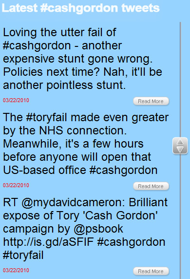 The Cash Gordon website is being bombarded by tweets from people appalled at the consulting agency behind the site
