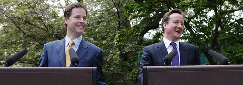 When did Nick Clegg convert to Cameron's deficit reduction approach