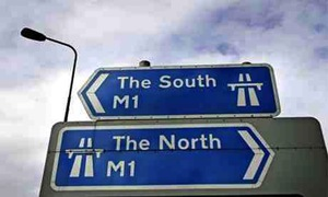 The one time the North is to the right of the South.