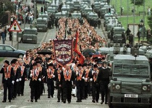 Orange Order marching in Northern Ireland.