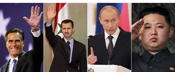 Mitt-Romney-Bashar-al-Assad-Vladimir-Putin-Kim-Jong-un