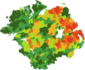 Demographics of Northern Ireland. Green people are Catholic, Orange people are Protestant, and White people are Lakes. The lakes are the ones to watch out for; a shifty lot.