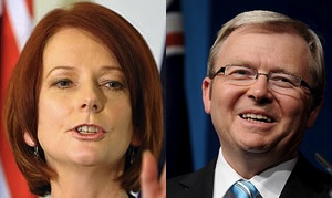 Gillard and Rudd. Not happy with each other.