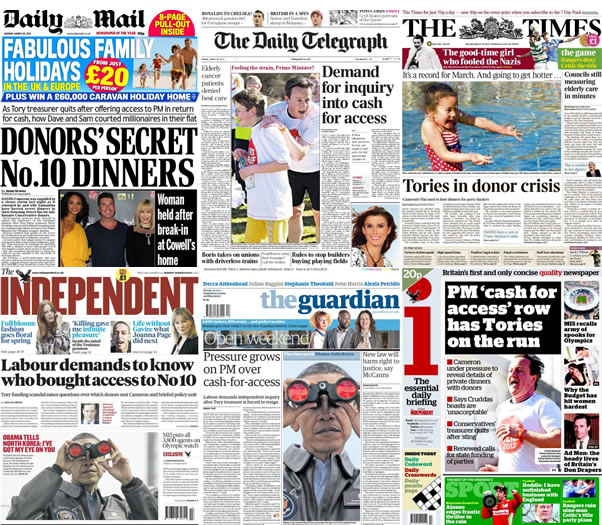 Cash-for-Cameron-front-pages-26-03-12