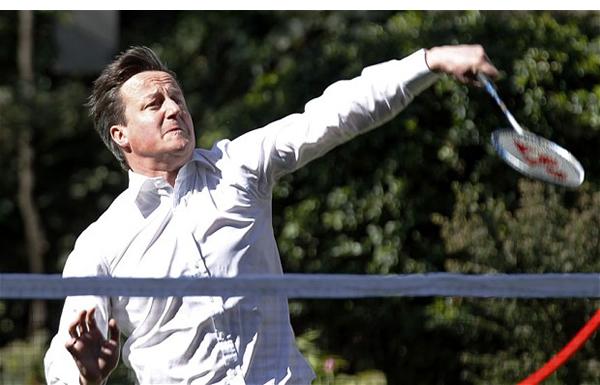 Cash-for-Cameron-scandal-David-Cameron-playing-badminton