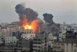 Building-on-fire-Gaza