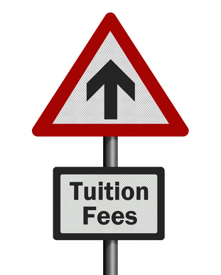 'Tuition fees' rise, photo-realistic signpost, isolated on a whi