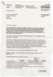 Ofsted letter