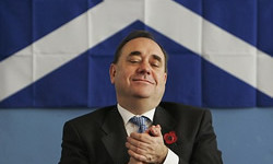 Time to pray: Embattled SNP leader Alex Salmond looks for divine inspiration