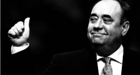 Alex Salmond is very happy. Thumbs up!