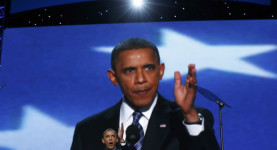 President Obama addresses the DNC late Thursday