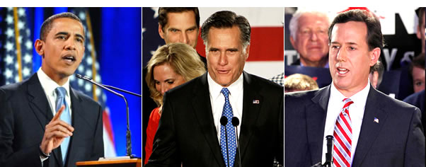Happy, relieved, resurgent: President Obama, Mr Romney and far-right loony Mr Santorum