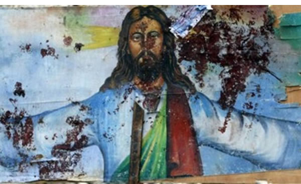 Shocking: A blood-spattered mural at a Coptic Orthodox church in Egypt