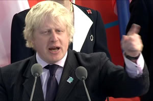 Boris Johnson pust his Left Finger Forward