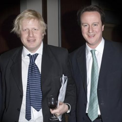Unaffected by the cuts: Boris Johnson and David Cameron