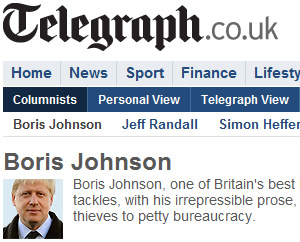 Boris Johnson earns £250,000 for his Daily Telegraph column