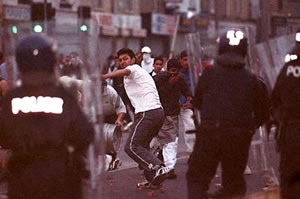 Scenes of chaos from the Bradford riots in 2001