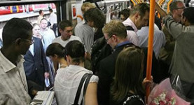 Unacceptable: A typical crowded rail carriage