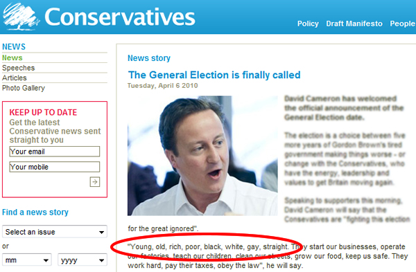 "The Tory website mentions ""gay or straight"" - but Mr Cameron"