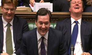 Danny Alexander, George Osborne and David Cameron laugh themselves hoarse during the Autumn Statement 2012