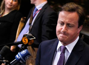 David Cameron faces the cameras at the EU summit