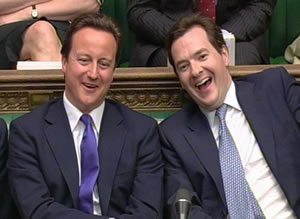 David Cameron and George Osborne: Smirking while the poor suffer