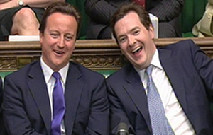 Smirking while the poor suffer: Gideon and his master Cameron