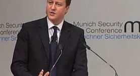 Talking tough: David Cameron at the Munich Security Conference on Saturday