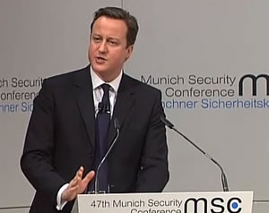 Mr Cameron in Munich: The prime minister gave a keynote speech on multiculturalism at the weekend