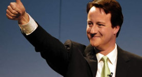 Giving the thumbs up to Big Oil: The slippery, slimy, gels-his-hair-with-oil David Cameron