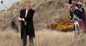 Donald Trump practices his swing