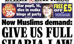 Scaremongering: Today's Express front page implies all Muslims want Sharia to be implemented