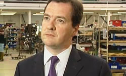 Grim: Gideon Osborne tries to explain away dismal growth figures this morning