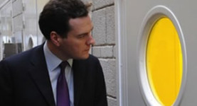 """""""Please Rachel, can I have some advice?"""" - Gideon stares into the IPPR room where Ms Reeves is talking, hoping to absorb some intelligence"""