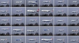 All the planes landing at Heathrow in one hour. Thirty planes. A lot of planes