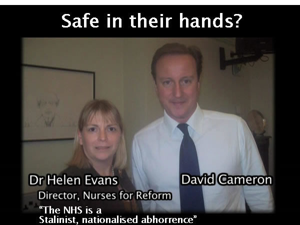Obscene company: David Cameron poses with the unspeakable Helen Evans