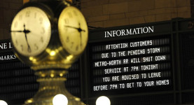 Hurricane Sandy caused the shutdown of Grand Central Terminal and the rest of the New York transport system
