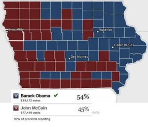 Iowa in 2008: Will this be the pattern we get in 2012?