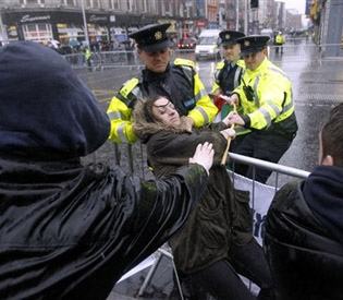 Angry: Irish protesters vent their unrest at the IMF bailout