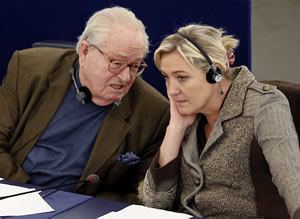 Scum reunited: Jean Marie Le Pen and Marine Le Pen