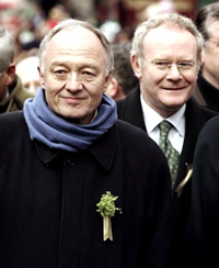 Ken Livingstone and Martin McGuinness at the St Patrick