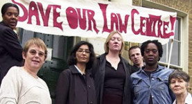Campaigning against the cuts: Lawyers from Hackney Law Centre protest the legal aid funding cuts