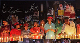 A vigil for Malala Yousafzai in Lahore