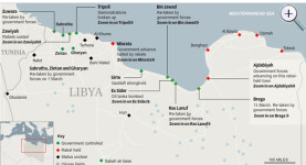 Battle for Libya: A map showing the latest state of play in the battle to sever Gaddafi; click to enlarge