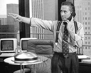 Michael Douglas as Gordon Gecko in the eighties classic Wall Street