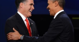 Mitt Romney and Barack Obama shake hands at the 2nd 2012 Presidential debate