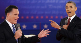 Mitt Romney and Barack Obama face each other in the third and final Presidential election debate on Monday night