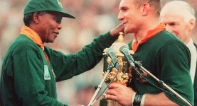 Boks in arms: Nelson Mandela hands South Africa rugby captain Francois Pienaar the Webb Ellis Cup, Ellis Park, Joburg, 24 June, 1995