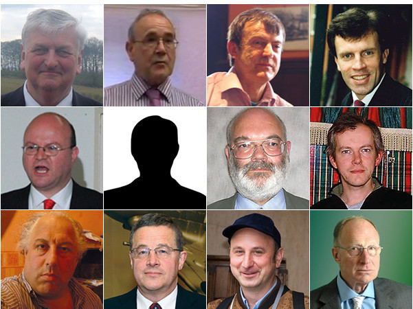 Leader of new far right party 'True Brits': Row 1 (l-r): Andrew Brons, Peter Phillips, Ken Booth, Andrew Moffatt; Row 2: Andrew Davies, Steve Brady, James Lewthwaite, Peter Rushton; Row 3: Ivan Winters, Martin Wingfield, Bob Gertner, Richard Edmonds