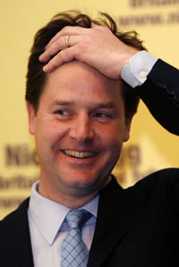 Clegg's idea that the public should be given shares in the banks – first mooted early this year – is reheated populist opportunism. RBS and Lloyds banks ... - Nick-Clegg-silly-shares-idea